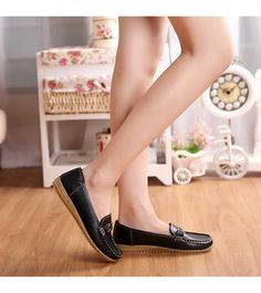 Women's #black leather casual slip on shoe #loafers, breathable, buckle decorated on vamp, Round toe design, casual leisure occasions.