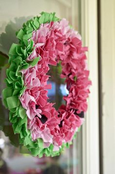 Watermelon Birthday Party wreath made out of fabric scraps! Too cute! Via Kara's Party Ideas KarasPartyIdeas.com