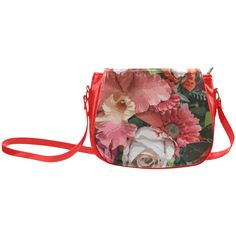 Beautiful Abstract Floral Pattern Classic Saddle Bag/Large (Model 1648)