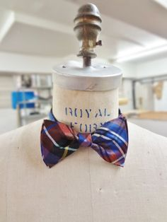 Raw Silk Bow Tie blue burgundy and white by BowMeAwayByAlexandra