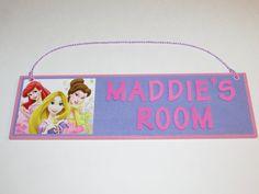 Disney Princess Personalized Room Decor Sign - The Little Mermaid Ariel Belle Rapunzel on Etsy, $15.00