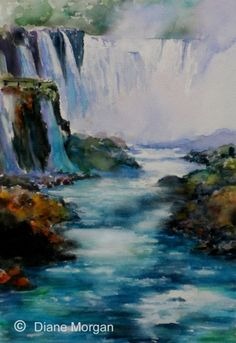 """Iguazu Falls""  watercolor 21 x 14"", painting by artist Diane Morgan"