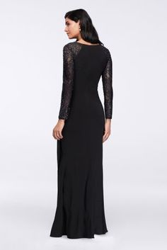 Beautiful crystal-detailed lace sleeves add just a hint of shine to this faux-wrap matte jersey A-line gown.  By Alex Evenings  Polyester, spandex  Back zipper; fully lined  Spot clean  Imported