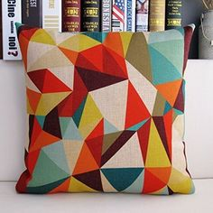 Ojia 18 X 18 Inch Cotton Linen Decorative Throw Pillow Cover Cushion Case with Gift Card, Color Geometry *** Quickly view this special deal, click the image : Decorative Pillows