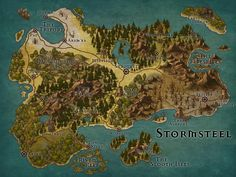 [OC] Stormsteel - A map series for my campaign created with Inkarnate. Fantasy Map Making, Fantasy City Map, Fantasy World Map, Fantasy Rpg, Dark Fantasy, Wattpad, Dnd World Map, Rpg Map, Adventure Map