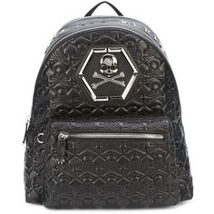 Philipp Plein quilted backpack (5,295 NZD) ❤ liked on Polyvore featuring men's fashion, men's bags, men's backpacks, black and mens leather backpack