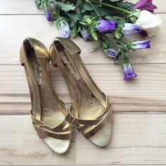 """Chinese Laundry Gold Low Wedge Sandal Chinese Laundry strappy gold sandals with low wedge heel (1.5"""")! Chinese Laundry Shoes Sandals"""