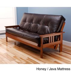 Somette Beli Mont Multi Flex Full Size Futon Frame With Bonded Leather Innerspring Mattress By