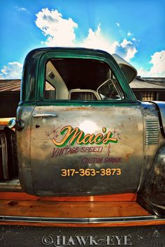 Loving enamel on bare steel. Truck Lettering, Vintage Lettering, Pinstriping, Garage Art, Garage Signs, Door Signage, 54 Chevy Truck, Door Letters, Truck Signs