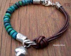 Rustic Turquoise Leather Bracelet - Casual Bell Charm Bracelet - Sundance Style Jewelry via Etsy Leather Jewelry, Wire Jewelry, Jewelry Crafts, Beaded Jewelry, Jewelry Bracelets, Jewelery, Handmade Jewelry, Leather Bracelets, Geek Jewelry