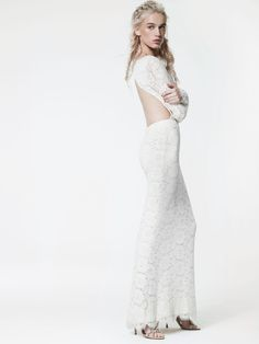 Houghton Chante Gown #houghton #houghtonnyc #houghtonbride Guipure lace gown, with open back and long sleeves