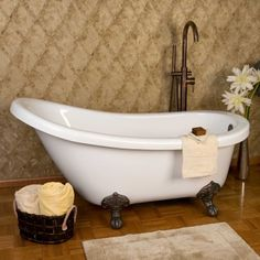 Victorian Acrylic Slipper Clawfoot Tub - Imperial Feet - Bathtubs - Bathroom     I like the slipper shape and the high faucet!!