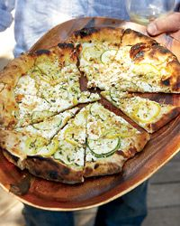 Summer Squash Pizza with Goat Cheese and Walnuts. Recipe from Food & Wine