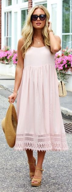 It is not too late to jump on the blush pink trend for the summer. This dress combined with tan accessories gives a lovely balanced look. Via Marissa Meade  Dress: Forever 21, Clutch: Talbots, Wedges: Stuart Weitzman, Hat: J. Crew. Blush Pink Outfits