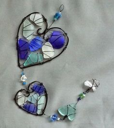 Sea Glass Suncatcher with Heart Design in Shades by oceansbounty, $28.00