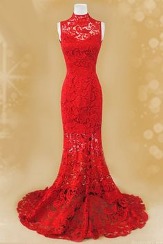 Romantic Mermaid Red Lace Chinese Wedding Dress