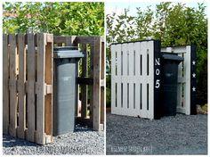 outdoor bin screen / pallets reuse // by kolmentahdenkoti. Backyard Plan, Backyard Patio Designs, Backyard Landscaping, Bin Store Garden, Wooden Pallet Crafts, Garden Urns, Pallets Garden, Diy Shed, Garden Spaces