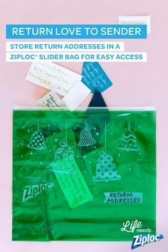 If you're not sure where to start with your holiday cards, start by clipping return addresses. Save them all inside of a Ziploc® Slider bag so you know who to thank or send a card to in return. Such a smart idea if you don't have an up-to-date address book or if you have family and friends who move often.