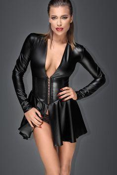 Vestidos Sexy, Mini Vestidos, Sexy Dresses, Sexy Korsett, Corset Sexy, Wet Look Dress, Robes Glamour, Mini Robes, Leather Dresses