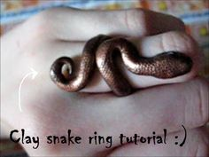 Harry Potter polymer clay snake ring tutorial