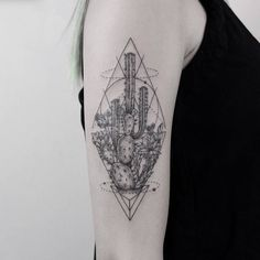 Half Sleeve Cactus Tattoo