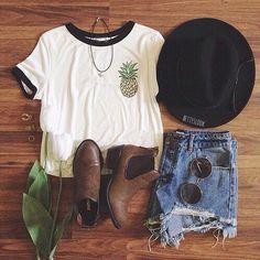 | White Graphic Tee | Distressed Denim Shorts | Brown Ankle Booties | Black Brim Hat | Circular Sunglasses | Choker |