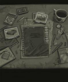 Detective's DESK by HAOSvip Detective Aesthetic, Writers Desk, Coc Online, Art Desk, Scenic Design, Sketchbook Ideas, Bullet Journals, Mafia, Night Club