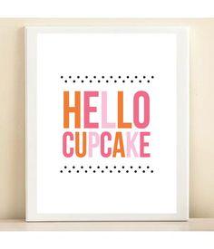 Orange, Pink, and Polka Dot 'Hello Cupcake' print poster