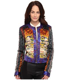 Just Cavalli Womens Quilted ST Tibetan Pillow Print Jacket Red - Blazers & Jackets