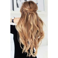 Holiday Half Updo Luxy Hair Blog All about hair! ❤ liked on Polyvore featuring beauty products, haircare, hair styling tools, hair, hairstyle and curly hair care