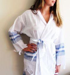 Unisex BATHROBE Natural Cotton Robe Turkish Bath Robe by loovee, $49.90