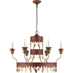 Studio  Xavier Chandelier in Red & Gold Tole by Visual Comfort SR5040RGT
