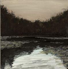 John Hainsworth, landscape artist: Cherington Lake    Acrylic and Watercolour on Aluminium    10x10cm    2011