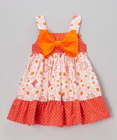 Love this Orange & Pink Lucy Bow Dress - Girls on #zulily! #zulilyfinds