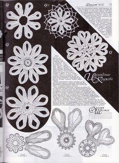 Crochet Patterns - Duplet 147 Russian crochet patterns - a singular product by Duplet on DaWanda Filet Crochet, Freeform Crochet, Crochet Motif, Crochet Stitches, Knit Crochet, Crochet Leaves, Crochet Flowers, Crochet Vintage, Braided Rag Rugs