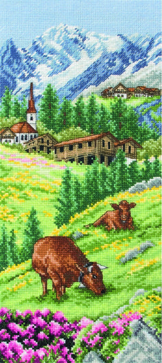 cross stitch: Swiss Alpine Landscape Cross Stitch Kit (UK only)