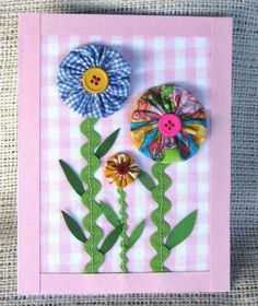 YoYo/Rick rack flower cards