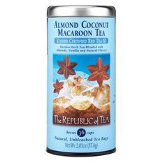 Almond Coconut Macaroon Red Tea by The Republic of Tea: Like drinking a cookie but with no calories or fat and its made with healthy rooibos tea! Coconut Tea, Coconut Macaroons, Apple Cider Vinegar Detox, Toasted Almonds, Tea Blends, Stop Eating, High Tea, Healthy Drinks, Healthy Smoothies