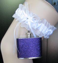 White Satin Lace Garter Sparkly Purple Glitter by readysetgo2370, $25.95