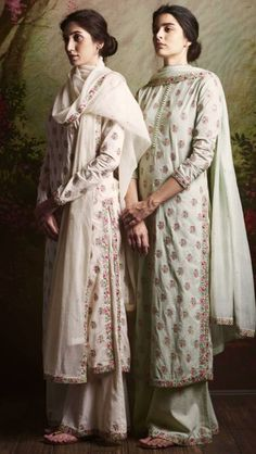 Elegant styles for day / evening - by Sabyasachi Indian Suits, Indian Attire, Indian Wear, Indian Dresses, Punjabi Suits, Indian Clothes, India Fashion, Ethnic Fashion, Indian Fashion Trends
