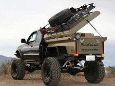 Adventure Trailer mounted on a flatbed. Cool idea