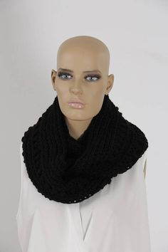 Crochet Black Infinity Scarf Handmade Scarf Neck warmer