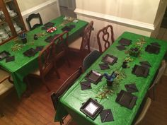 Tables set up for minecraft birthday