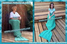 Calleigh's Clips & Crochet Creations: Crochet Mermaid Blanket in New Larger Sizes