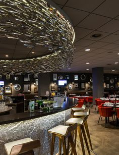 Stainless Steel Shoal at Hotel Mercure, Amsterdam City. Photograph by Michael van Oosten Restaurant Lighting, Restaurant Concept, Seafood Restaurant, Chinese Restaurant, Bar Lighting, Lighting Ideas, Lighting Design, Restaurant Interior Design, Cafe Interior