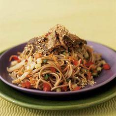 Soba Noodle Salad with Seared Tuna   MyRecipes.com    Swap out the tuna for a nice piece of Mahi Mahi :) YUM!!