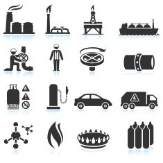 Natural Gas black & white royalty free vector icon set vector art illustration