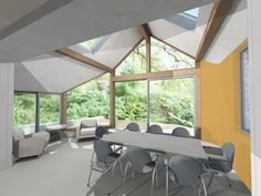 Sunroom/ curved wall/ Farrow and Ball/ Sudbury Yellow 51 Sunroom, Conference Room, Glass, Wall, Kitchen, Paint, Furniture, Yellow, Home Decor
