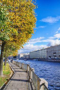 Beautiful autumn view: the Fontanka River in St. Petersburg, Russia