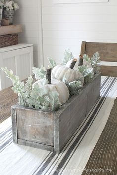 Dollar Store Pumpkin Makeover - I will use real white pumpkins mixed with the faux dusty miller. I like the look. Pumpkin Table Decorations, Halloween Table Decorations, Thanksgiving Decorations, Seasonal Decor, Thanksgiving Diy, Pumpkin Centerpieces, Harvest Decorations, Wedding Centerpieces, White Pumpkins